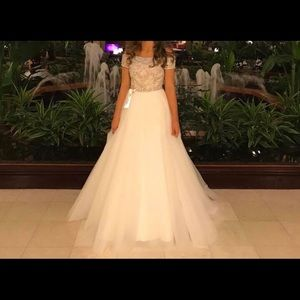 Sherri Hill Ivory Beaded Pageant Prom Formal Dress